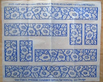1930's Deco Pattern Iron-on Transfer - 30's Embroidery Transfer Pattern - Art Deco Floral Embroidery Pattern - Old Transfer For Embroidery