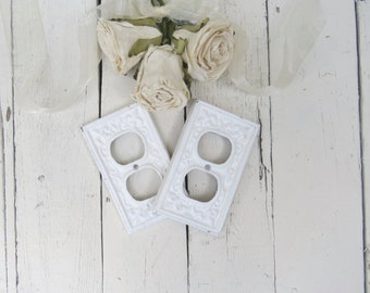 Shabby Light Socket Covers, Fixture, White Decor, Shabby and Chic, French Country, Fleur De Lis, Paris Apartment, Cottage Chic, Set of Two