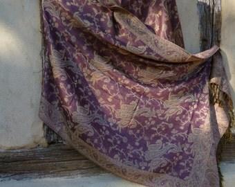 "Reversible Pink/Mauve with cream Pashmina shawl/stole.  70 x 28""  178 x 71 cm"