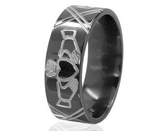 New Claddagh Ring, Black and Silver Claddagh Ring Carved Claddagh Ring, Unique Claddagh  Jewelry: BZ-8F-Claddagh1