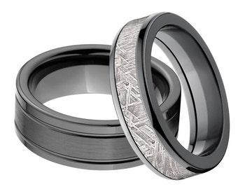 Black Zirconium Matching Ring Set, Meteorite Ring,  His & Her's Ring Set: BZ-7FRE-BC, BZ-6HR-Meteorite