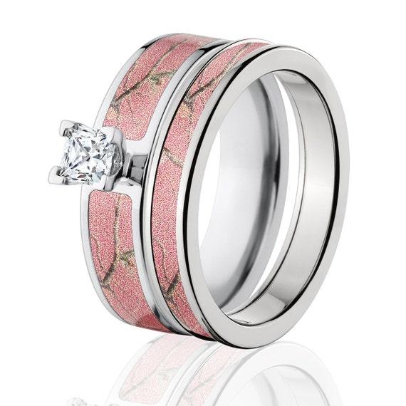 Realtree Wedding Rings: Cobalt Camo Bridal Set RealTree AP Pink Pink Bridal Sets