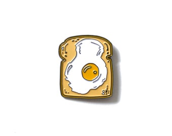 Fried Egg on Toast - Enamel Lapel Pin - Breakfast Brunch Food Lapel Pin - Sunny Side Up Egg Illustration - Bread Enamel Pin