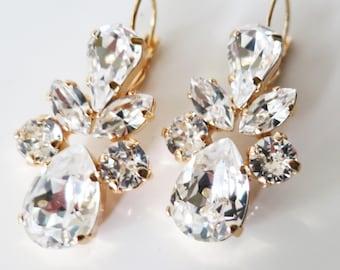 Crystal Earrings, Crystal Clear Chandelier Earrings,Swarovski Statement,White Bridal Earrings, Rhinestone Estate Luxury Jewelry