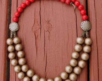 Coral Necklace, Double Strand Coral Necklace, Coral and Gold Necklace Set, Red Coral Statement Necklace