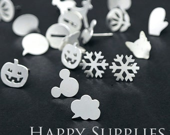 60pcs / 30 pairs Mix - Imperfect Discounted - Silver Brass Earring Post Finding with Ear Studs Back Stopper (ZEN) - Clearance Sale 次品