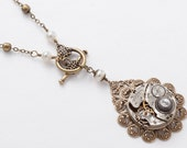 Steampunk Necklace with Vintage Silver Pocket Watch Movement on Gold Filigree Flower, Genuine Pearl & Swarovski Crystal Wedding Jewelry Gift