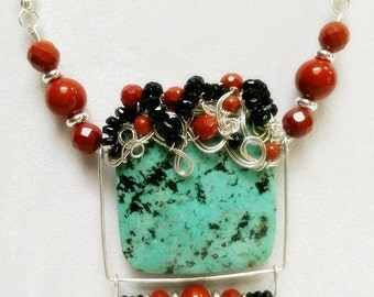 Swingtime Moveable African Turquoise Jasper Necklace in Silver