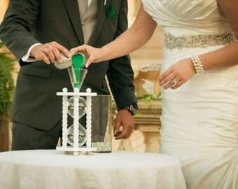 Heirloom Wedding Hourglass - The White Wedding Unity Sand Ceremony Hourglass
