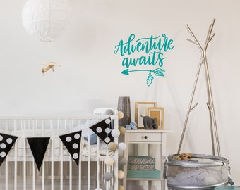 Adventure Awaits wall decal, Travel quotes, Arrow wall decor, Teen wall decal Boho bedroom Inspirational wall art Vinyl lettering Wanderlust