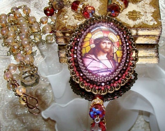 Jesus stained glass art print bead embroidery cabochon pendant necklace Pamelia Designs Sacred Jewelry