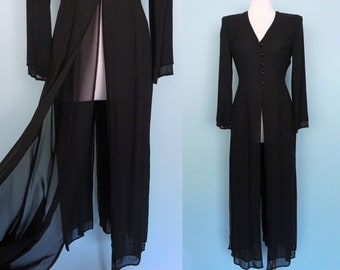 TADASHI Sheer Duster Slit Maxi Cover Up Cardigan Dress Button Front Double Layer Long Sleeve Open Front 6