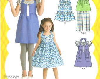 GIRLS Dress in two lengths, tunic, cropped pants and knit top by Simplicity 2434, Sizes 3-6 Uncut