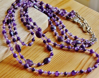 Amethyst necklace, long boho necklace, big bold chunky necklace, purple necklace, statement necklace, large necklace, natural stone necklace