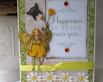 Handmade Card Vintage-style Chic Buttercup Fairy by Cicely Mary Barker Thinking of You Blank