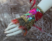 Vintage bouquet-- shabby chic bohemian wrist wrap with antique lace and embroidery
