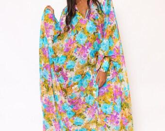 Vtg 60s 70s Gorg Psychedelic Beaded Floral Hippie Boho Caftan Dress O/S