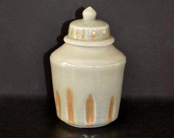 HandMade Pottery Coffee Jar Cookie Jar Lidded Jar Container with Lid Wheel Thrown Jar and Lid