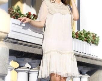 Crochet silk dress, Lace wedding dress, 20's style dress, Swing style dress, Cottage chic dress, Bohemian chic dress, Designer lace dress