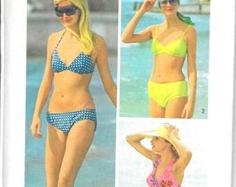 SIMPLICITY 5576 Size Medium 12 14 Every-Body Bikini Swimsuit Swimwear Vintage 1970's Pattern
