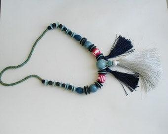 Vintage Necklace Beaded Tassel Necklace Tassel fringe necklace, fringe necklace, statement necklace