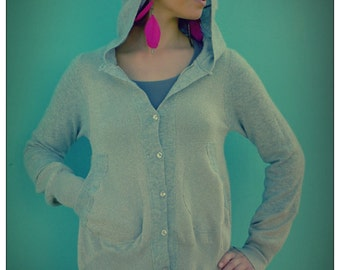 Upcycled Gray Cashmere & Silver Lurex Hoody Cardigan                 Made in England UK