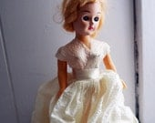 1940s Blonde Prize Doll with White Dress and Sleeping Eyes