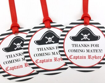 Pirate Party Favor Tags, Pirate Birthday Favor Tags, Pirate Tags, Pirate Party Decorations - SET OF 12