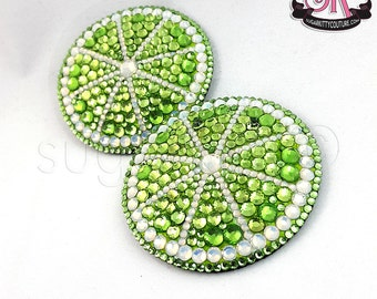 Citrus Slice Fruit Rhinestone Nipple Pasties - SugarKitty Couture