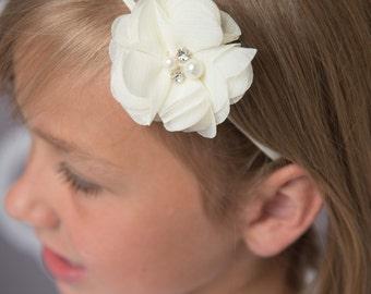 Ivory Flower Headband, baby blessing headband, christening headband, baby wedding headband, flower girl gift, baby headband baby shower gift