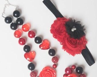 Black necklace, Red bubblegum necklace, little girl necklace, chunky bead necklace, bubble gum necklace, toddler necklace baby girl necklace
