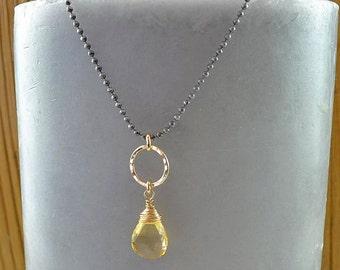 Sunny Citrine Drop Necklace