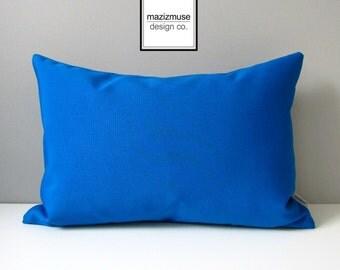 Decorative Cobalt Blue Outdoor Pillow Cover, Throw Pillow Case, Modern Cushion Cover, Pacific Sunbrella, Mazizmuse