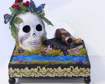 Dark Art 3 Dimensional - Skull Art Diorama - Memento Mori Art - Vanitas Art Piece