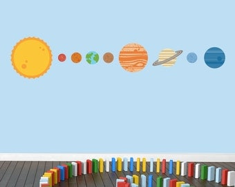 Solar System Wall Decals - Printed Planets Nursery and Kid's Room Stickers Graphics