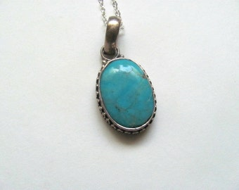 Vintage genuine turquoise chunky pendant necklace on sterling silver plated chain, boho necklace