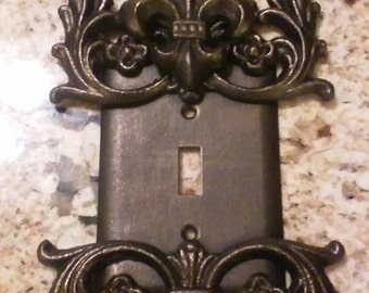 Metal, Single Fleur de Lis Switch Plate - FREE USA SHIPPING - single switch Cover, Custom light switch cover, switch plate, tuscan