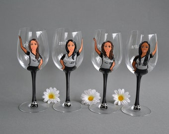 Hand painted Personalized Wine or Champagne glasses College team girls Caricatures