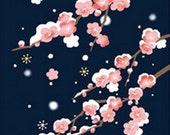 Japanese Tenugui Fabric, Plum Blossom, Flower, Floral Pattern, Snow, Winter, White-Eye, Bird, Moon, Hand Dyed Fabric, Wall Art Hanging, h252
