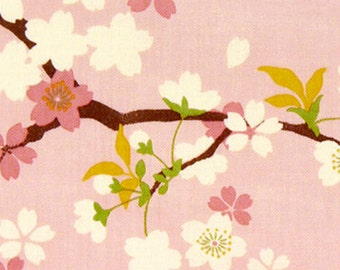 Japanese Tenugui Fabric, Cherry blossom, Pink Sakura Flower, Hand Dyed Fabric, Spring Floral Art Wall Hanging Tapestry, Home Decor, h334