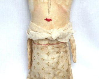 Primitive Americana Doll - Cloth Folk Doll - Primitive Folk Doll - Soft Sculpture Doll - Plush Art Doll - Womens Gift Doll - Queen Art Doll