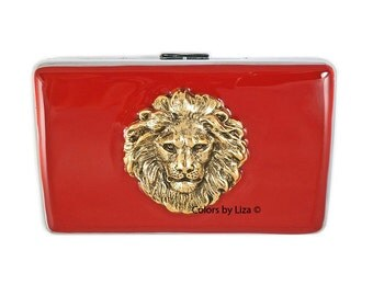 Lion RFID Metal Wallet with Card Organizer Hand Painted Red Enamel Neo Victorian Leo Inspired Personalized and Color Options