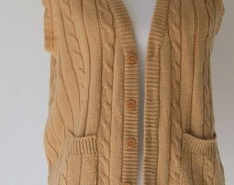 Vintage 1970s Camel Cardigan Cable Knit Vest S/M