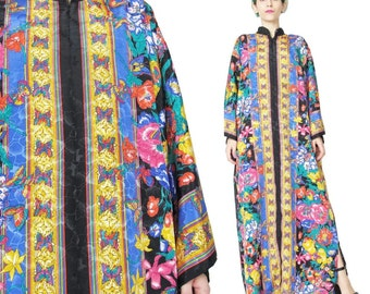 Kaftan Loungewear Dress Rose Floral Ruth Norman Maxi Dress Plus Size Colorful Coverup Silky Black Satin Butterfly Print Caftan (L/XL)