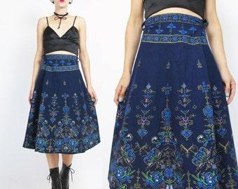 Vintage Greek Cotton Wrap Skirt Gold Printed Cotton Skirt Navy Blue Skirt Midi Knee Length Flared Tie Waist Ethnic Boho Wrap Skirt (L)