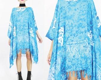 Tie Dye Caftan Dress Turquoise Blue Dress Seapunk Vaporwave Dolphin Print Ethnic Hippie Boho Draped Plus Size Fringe Hem Muu Muu (L/XL)