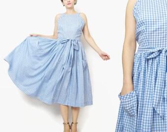 1950s Full Skirt Dress 50s Cotton Day Dress Blue Plaid Dress Vintage Gingham Dress with Pockets Retro Pinup Dress Tie Back Dress (S) E355