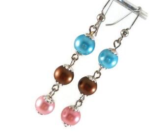 Long Drop Earrings, Blue Brown Pink, Pearl Dangle Earrings, Teen Girl Gifts, Teen Girl Birthday, Gifts Under 10, Cute Earrings for Women