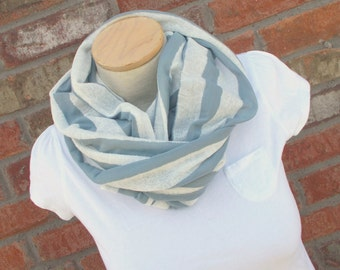 Gray Infinity Scarf, Jersey Scarf, Gray and White Striped Scarf, Teenage Girl Gifts, Cute Lightweight Scarf, Gifts Under 20,