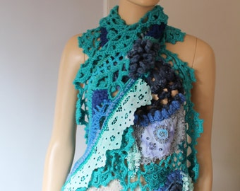 Unique Boho Chic Blue Turquoise Freeform Crochet Lace  Beaded Tattered Scarf Shawl / Wearable Art / OOAK /  Bohemian Shawl